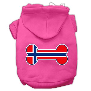 Bone Shaped Norway Flag Screen Print Pet Hoodies Bright Pink Size S (10)