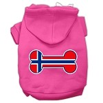 Bone Shaped Norway Flag Screen Print Pet Hoodies Bright Pink Size XS (8)