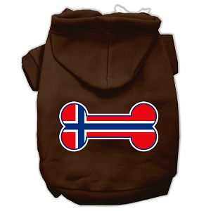 Bone Shaped Norway Flag Screen Print Pet Hoodies Brown XXL (18)