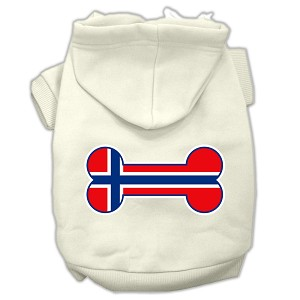 Bone Shaped Norway Flag Screen Print Pet Hoodies Cream Size XL (16)