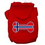 Bone Shaped Norway Flag Screen Print Pet Hoodies Red Size XS (8)