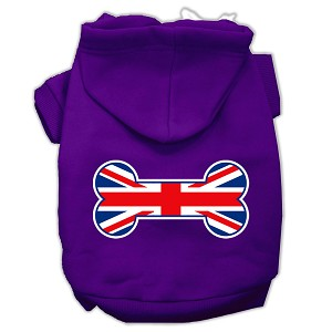 Bone Shaped United Kingdom (Union Jack) Flag Screen Print Pet Hoodies Purple Size XL (16)