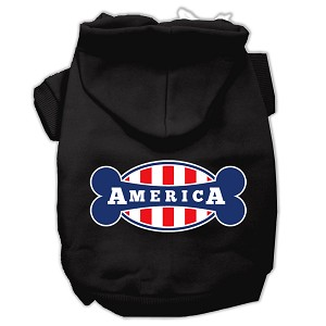 Bonely in America Screen Print Pet Hoodies Black Size Med (12)