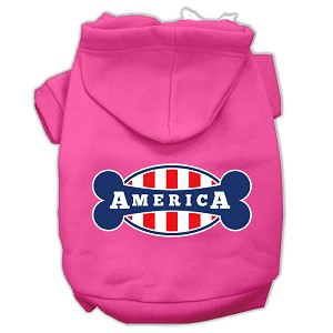 Bonely in America Screen Print Pet Hoodies Bright Pink Size XXL (18)