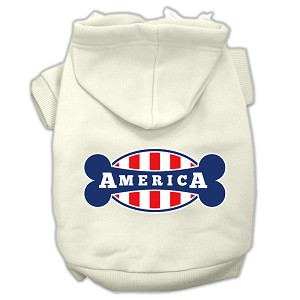 Bonely in America Screen Print Pet Hoodies Cream Size XL (16)
