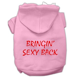 Bringin' Sexy Back Screen Print Pet Hoodies Light Pink Size Sm (10)