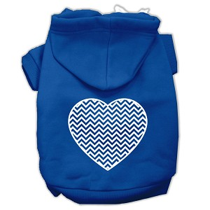 Chevron Heart Screen Print Dog Pet Hoodies Blue Size Lg (14)