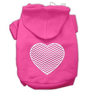 Chevron Heart Screen Print Dog Pet Hoodies Bright Pink Size XS (8)