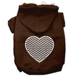 Chevron Heart Screen Print Dog Pet Hoodies Brown Size XS (8)