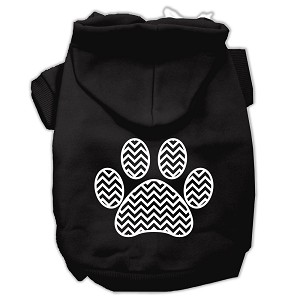 Chevron Paw Screen Print Pet Hoodies Black Size XXXL (20)