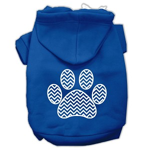 Chevron Paw Screen Print Pet Hoodies Blue Size Lg (14)