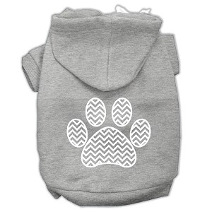 Chevron Paw Screen Print Pet Hoodies Grey Size XL (16)