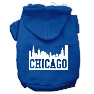 Chicago Skyline Screen Print Pet Hoodies Blue Size Sm (10)