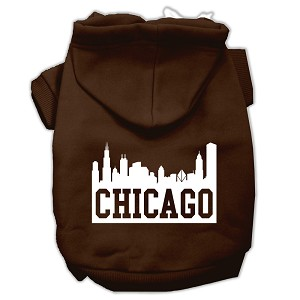 Chicago Skyline Screen Print Pet Hoodies Brown Size XS (8)