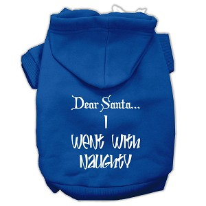 Dear Santa I Went with Naughty Screen Print Pet Hoodies Blue Size Lg (14)