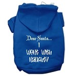 Dear Santa I Went with Naughty Screen Print Pet Hoodies Blue Size XS (8)