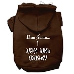 Dear Santa I Went with Naughty Screen Print Pet Hoodies Brown Size XS (8)
