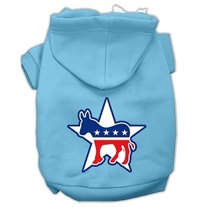 Democrat Screen Print Pet Hoodies Baby Blue Size Lg (14)