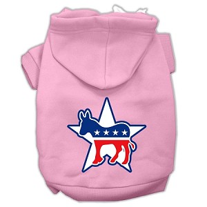 Democrat Screen Print Pet Hoodies Light Pink Size XS (8)