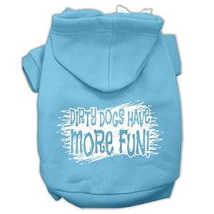Dirty Dogs Screen Print Pet Hoodies Baby Blue Size XS (8)