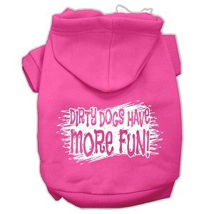 Dirty Dogs Screen Print Pet Hoodies Bright Pink Size Lg (14)