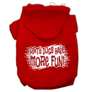 Dirty Dogs Screen Print Pet Hoodies Red Size Sm (10)