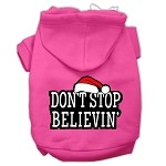 Don't Stop Believin' Screenprint Pet Hoodies Bright Pink Size XS (8)