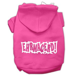 Ehrmagerd Screen Print Pet Hoodies Bright Pink Size Med (12)