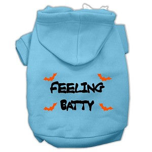 Feeling Batty Screen Print Pet Hoodies Baby Blue Size Med (12)
