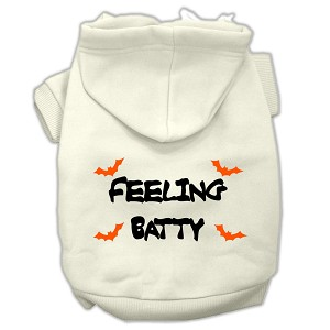 Feeling Batty Screen Print Pet Hoodies Cream Size Med (12)