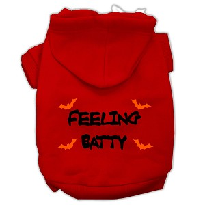 Feeling Batty Screen Print Pet Hoodies Red Size Sm (10)