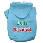 Feliz Navidad Screen Print Pet Hoodies Baby Blue XS
