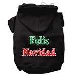 Feliz Navidad Screen Print Pet Hoodies Black XS