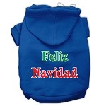 Feliz Navidad Screen Print Pet Hoodies Blue XS