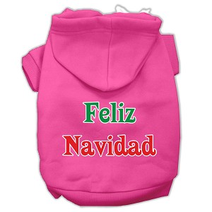 Feliz Navidad Screen Print Pet Hoodies Bright Pink XL (16)