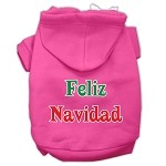 Feliz Navidad Screen Print Pet Hoodies Bright Pink XS