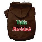 Feliz Navidad Screen Print Pet Hoodies Brown XS