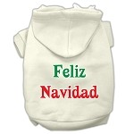 Feliz Navidad Screen Print Pet Hoodies Cream Size XS
