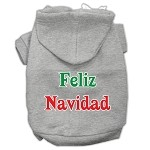Feliz Navidad Screen Print Pet Hoodies Grey XS