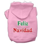 Feliz Navidad Screen Print Pet Hoodies Light Pink XS