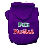 Feliz Navidad Screen Print Pet Hoodies Purple XS