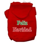 Feliz Navidad Screen Print Pet Hoodies Red Size XS
