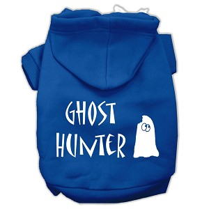Ghost Hunter Screen Print Pet Hoodies Blue with Cream Lettering XL (16)