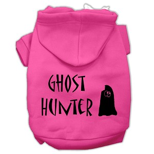 Ghost Hunter Screen Print Pet Hoodies Bright Pink with Black Lettering XS (8)