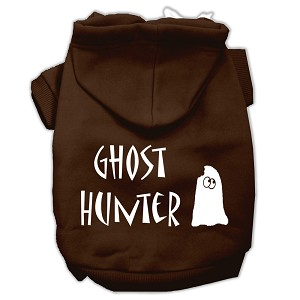 Ghost Hunter Screen Print Pet Hoodies Brown with Cream Lettering Lg (14)