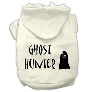 Ghost Hunter Screen Print Pet Hoodies Cream with Black Lettering XL (16)