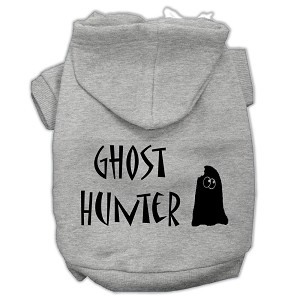 Ghost Hunter Screen Print Pet Hoodies Grey with Black Lettering Sm (10)
