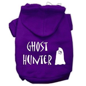 Ghost Hunter Screen Print Pet Hoodies Purple with Black Lettering Med (12)