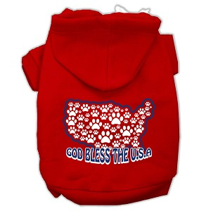 God Bless USA Screen Print Pet Hoodies Red Size M (12)