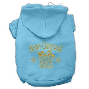 Golden Christmas Present Pet Hoodies Baby Blue Size Sm (10)
